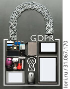 Купить «GDPR handwritten inside a padlock made from various devices including tablets, computer mouse, usb cards», фото № 31067170, снято 20 февраля 2018 г. (c) easy Fotostock / Фотобанк Лори