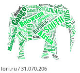 Купить «Sketch from Africa country names text, African words cloud in Elephant shape.», фото № 31070206, снято 9 августа 2018 г. (c) easy Fotostock / Фотобанк Лори