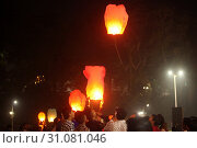 Купить «Pune, India - November 2018: Ever since Chinese product infiltration over the world, chinese lanterns also have not spared the Indian way of celebrating...», фото № 31081046, снято 8 ноября 2018 г. (c) easy Fotostock / Фотобанк Лори