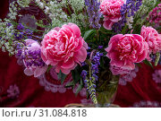 Купить «Букет из красивых пионов и полевых цветов стоит в вазе на столе», фото № 31084818, снято 15 июня 2019 г. (c) Николай Винокуров / Фотобанк Лори