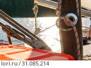 Fragment of various rigging of a sailing boat close up. Стоковое фото, фотограф Евгений Харитонов / Фотобанк Лори
