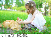 Happy little girl pets the cat in summer outdoors. Стоковое фото, фотограф ivolodina / Фотобанк Лори