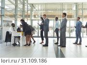 Купить «Group of diverse business people queuing up for interview», фото № 31109186, снято 21 марта 2019 г. (c) Wavebreak Media / Фотобанк Лори