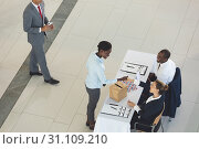 Купить «Group of diverse business people waiting for voting», фото № 31109210, снято 21 марта 2019 г. (c) Wavebreak Media / Фотобанк Лори