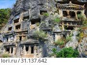 Купить «Ликийские гробницы в Фетхие, Турция», фото № 31137642, снято 12 июня 2019 г. (c) Natalya Sidorova / Фотобанк Лори