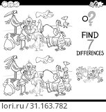 Black and White Cartoon Illustration of Searching Differences Between Pictures Educational Activity Game for Children with Birds Animal Characters Group Coloring Book. Стоковое фото, фотограф Zoonar.com/Igor Zakowski / easy Fotostock / Фотобанк Лори