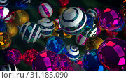 Купить «An optimistic 3d rendering of glowing glass balls for a Christmas fir tree. They fly over a green floor and create a funny mood. They are multicolored, striped, and shimmering. Happy New Year!», фото № 31185090, снято 25 мая 2020 г. (c) easy Fotostock / Фотобанк Лори