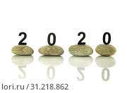 Купить «New years resolution 2020 concept, Wooden year number on stones isolated on white background with reflection and copy space», фото № 31218862, снято 11 февраля 2019 г. (c) easy Fotostock / Фотобанк Лори