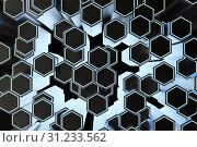 Купить «3d rendering, dark hexagonal background, sci-fi background, computer digital background», фото № 31233562, снято 18 сентября 2019 г. (c) easy Fotostock / Фотобанк Лори