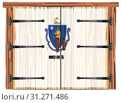 Купить «A large closed wooden barn double door with bolt and hinges and the Massachusetts flag painted on», фото № 31271486, снято 30 декабря 2018 г. (c) easy Fotostock / Фотобанк Лори