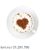 Купить «Close up one full white cup of frothy latte cappuccino coffee with heart shaped brown chocolate art, on saucer isolated on white background, elevated top view, directly above», фото № 31291790, снято 6 декабря 2016 г. (c) easy Fotostock / Фотобанк Лори