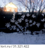 Frost on glass on a dark background, macro. Стоковое фото, фотограф YAY Micro / easy Fotostock / Фотобанк Лори