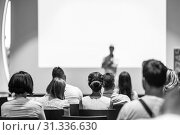 Купить «Business speaker giving a talk at business conference event.», фото № 31336630, снято 15 июня 2018 г. (c) Matej Kastelic / Фотобанк Лори