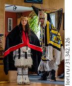 Купить «Native dancers in traditional Haida dancing regalia, Old Masset, Haida Gwaii, British Columbia, Canada, North America», фото № 31342126, снято 6 сентября 2018 г. (c) age Fotostock / Фотобанк Лори