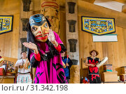 Купить «Native dancers in traditional Haida dancing regalia, Old Masset, Haida Gwaii, British Columbia, Canada, North America», фото № 31342198, снято 6 сентября 2018 г. (c) age Fotostock / Фотобанк Лори