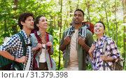Купить «friends with backpacks on hike talking in forest», видеоролик № 31379398, снято 29 июня 2019 г. (c) Syda Productions / Фотобанк Лори