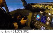 Купить «Civil aircraft cockpit.», видеоролик № 31379502, снято 13 апреля 2019 г. (c) Игорь Жоров / Фотобанк Лори