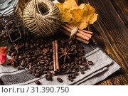 Купить «Coffee Beans, Autumn Dried Leaves and Spices Still Life», фото № 31390750, снято 1 октября 2016 г. (c) easy Fotostock / Фотобанк Лори