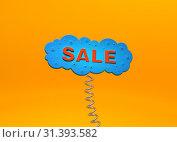 Красная надпись Sale в виде синего облака с пружиной на оранжевом фоне. Стоковая иллюстрация, иллюстратор Роман Иванов / Фотобанк Лори