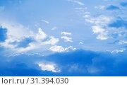 Купить «Blue sky with cumulus and cirrus clouds», фото № 31394030, снято 22 марта 2019 г. (c) EugeneSergeev / Фотобанк Лори