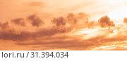 Купить «Colorful cloudy evening sky panorama», фото № 31394034, снято 26 ноября 2018 г. (c) EugeneSergeev / Фотобанк Лори