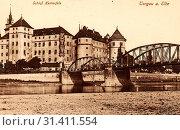 Elbe in Torgau, Schloss Hartenfels, Torgau, Bridges in Torgau, 1903, Landkreis Nordsachsen, Schloß Hartenfels und Elbebrücke, Germany (2019 год). Редакционное фото, фотограф Liszt Collection / age Fotostock / Фотобанк Лори