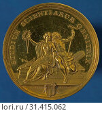 Johann Heinrich Schepp, Conduct of the Studium Scientiarum Genitrix in Rotterdam, medallion medal gold, engraved engraved This medal of honor is set in... (2018 год). Редакционное фото, фотограф Copyright Liszt Collection / age Fotostock / Фотобанк Лори