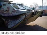 Купить «Damaged body of a military armored infantry. Outdoor military vehicles museum. Armor is damaged at the battlefield.», фото № 31435734, снято 10 ноября 2018 г. (c) easy Fotostock / Фотобанк Лори