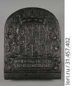 Fireback coat of arms Prins Maurits, text ALLEIN GOTT DIE EHR UND SONST NIEMAND MEHR, year 1628, hob plate cast iron, cast Rectangular with curved upper... (2018 год). Редакционное фото, фотограф Copyright Liszt Collection / age Fotostock / Фотобанк Лори