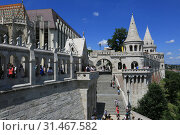 Купить «Hungary, Budapest, June 3, 2019. A beautiful summer view of the Fishermen's Bastion is one of the attractions of Budapest», фото № 31467582, снято 3 июня 2019 г. (c) Яна Королёва / Фотобанк Лори