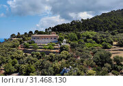 Aerial photo popular place for wedding venue old building exterior on hill white arbour for beautiful holiday celebration, picturesque landscape near Mediterranean Sea on mountain top, Majorca Spain (2019 год). Стоковое фото, фотограф Alexander Tihonovs / Фотобанк Лори