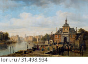 Купить «Pierre Justin Ouvrié, View of the Ooster Oudepoort gate, Rotterdam, cityscape painting visual material oil paint linen, Oil on canvas lying format signature...», фото № 31498934, снято 4 ноября 2018 г. (c) age Fotostock / Фотобанк Лори