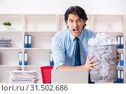 Купить «Businessman rejecting new ideas with lots of papers», фото № 31502686, снято 13 декабря 2018 г. (c) Elnur / Фотобанк Лори