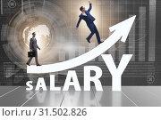 Купить «Concept of increasing salary with businessman», фото № 31502826, снято 29 мая 2020 г. (c) Elnur / Фотобанк Лори