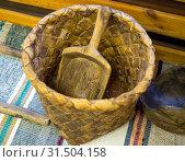 Купить «Комша - плетеная корзина для муки», фото № 31504158, снято 29 марта 2019 г. (c) Вячеслав Палес / Фотобанк Лори