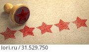 Купить «Five stars printed on craft paper with stamp. Rating, best choice, customer experience and high quality level concept.», фото № 31529750, снято 19 января 2020 г. (c) Maksym Yemelyanov / Фотобанк Лори