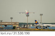 Купить «Asiana Airbus 380 departure», видеоролик № 31530190, снято 18 июля 2017 г. (c) Игорь Жоров / Фотобанк Лори