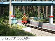Детская железная дорога, паровоз. Стоковое фото, фотограф Андрей Чабан / Фотобанк Лори