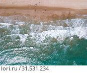 Купить «Top view of azure sea waves», фото № 31531234, снято 16 апреля 2019 г. (c) Яков Филимонов / Фотобанк Лори