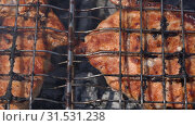 Купить «Жарка стейка на решетке», видеоролик № 31531238, снято 15 июля 2019 г. (c) А. А. Пирагис / Фотобанк Лори
