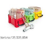 Бумажные рубли в ярких цветных контейнерах. Маленькие человечки трудятся в банковской сфере. Стоковое фото, фотограф Элина Гаревская / Фотобанк Лори