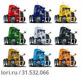 Купить «Cartoon semi trucks set isolated on white», иллюстрация № 31532066 (c) Александр Володин / Фотобанк Лори