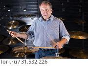 musician is playing on drum kit. Стоковое фото, фотограф Яков Филимонов / Фотобанк Лори