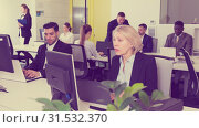 Купить «Business people working in coworking space», фото № 31532370, снято 10 марта 2018 г. (c) Яков Филимонов / Фотобанк Лори