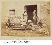 Купить «Cutting Indigo into Cakes, Oscar Mallitte (British, about 1829 - 1905, active Allahabad, India 1870s), Allahabad, India, 1877, Albumen silver print», фото № 31548502, снято 7 сентября 2018 г. (c) age Fotostock / Фотобанк Лори