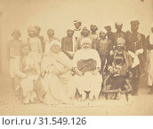 Chow dree Husmut Aly, Murdon Singh and Son with An Background Group, India, 1858 - 1869, Albumen silver print (2018 год). Редакционное фото, фотограф © Liszt Collection / age Fotostock / Фотобанк Лори