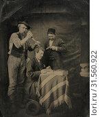 Купить «The Hold-Up, 1880s. Unidentified Photographer. Tintype, whole plate, overall: 21.6 x 16.5 cm (8 1/2 x 6 1/2 in.), matted: 50.8 x 40.6 cm (20 x 16 in.)», фото № 31560922, снято 14 февраля 2019 г. (c) age Fotostock / Фотобанк Лори