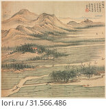 Eighteen Views of Huzhou: Baoyang Lake, 1500s. Song Xu (Chinese, 1525-c. 1606). Album, ink and color on silk, sheet: 26.4 x 28.4 cm (10 3/8 x 11 3/16 in.). (2019 год). Редакционное фото, фотограф Liszt Collection / age Fotostock / Фотобанк Лори