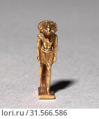 Amulet of a Ram-Headed Deity, c. 945-715 BC. Egypt, Third Intermediate Period, Dynasty 22 or later. Gold, overall: 2.5 x 0.6 x 1.2 cm (1 x 1/4 x 1/2 in.). (2019 год). Редакционное фото, фотограф Liszt Collection / age Fotostock / Фотобанк Лори
