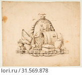 Design for a seal for 'Commerce': Den Koop Handel, 18th century (?), Pen and brown ink, 7 3/16 x 8 7/8 in. (18.2 x 22.6 cm), Drawings, Anonymous, Dutch, 18th century (2017 год). Редакционное фото, фотограф © Copyright Artokoloro Quint Lox Limited / age Fotostock / Фотобанк Лори